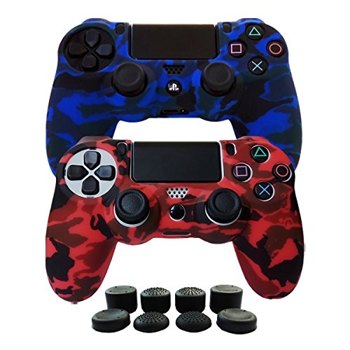 Hikfly Silicone Gel Controller Cover Skin Protector Kits for Sony Playstation 4 PS4/PS4 Slim/PS4 Pro Controller Video Games(2x Controller Camouflage cover with 8 x FPS Pro Thumb Grip Caps)(Red,Blue)