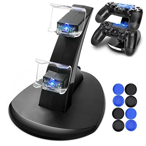 PS4 Controller Charger, Dreamore PS4/PS4 Slim DualShock 4 Controller Charger Dock with Dual Charging Station & LED indicator – USB Cable & Thrumb Grips for Joysticks Included